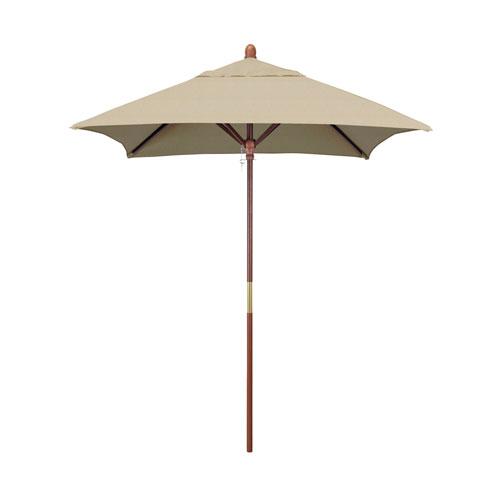 California Umbrella 6 X 6 Foot Umbrella Wood Market Pulley Open Marenti Wood/Sunbrella/Ant Beige