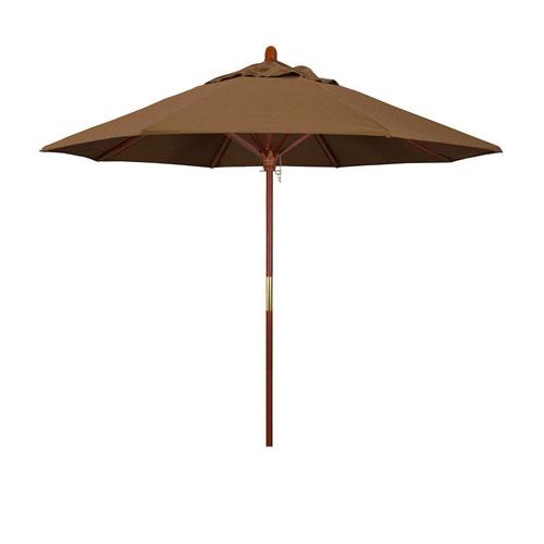 California Umbrella 9 Wood Market Umbrella Pulley Open Marenti Wood/Sunbrella/Canvas Teak