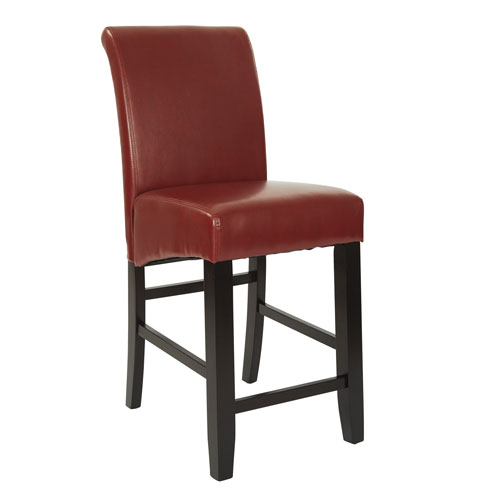 24-Inch Parsons Red Bonded Leather Barstool