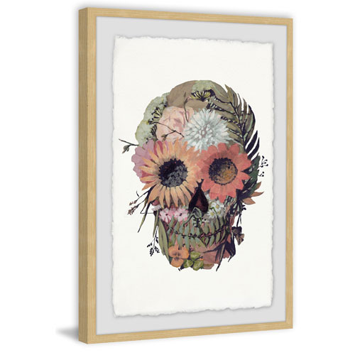 Marmont Hill Floral Skull 24 x 16 In. Framed Painting Print