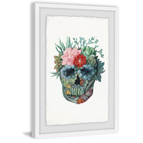 Marmont Hill Skull Bouquet 24 x 16 In. Framed Painting Print