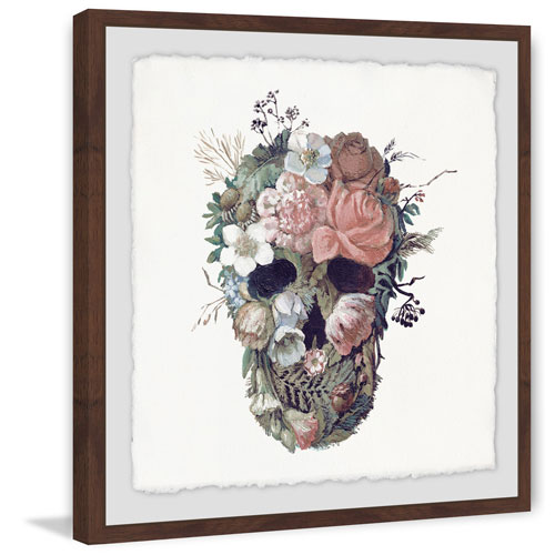 Marmont Hill Floral Skull II 40 x 40 In. Framed Painting Print