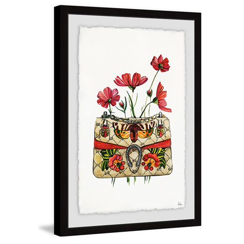 Marmont Hill Purse with Red Flowers 45 x 30 In. Framed Painting Print