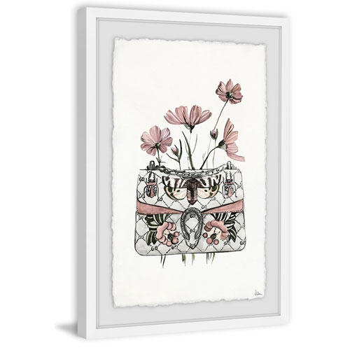 Purse with Pink Flowers 60 x 40 In. Framed Painting Print