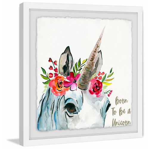 Marmont Hill Born Unicorn 24 x 24 In. Framed Painting Print