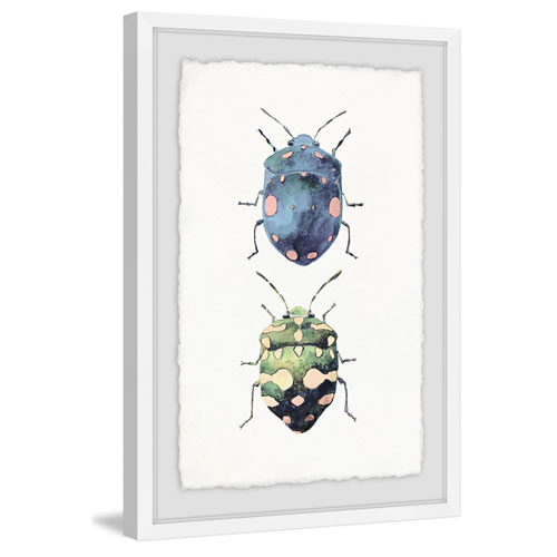 Marmont Hill Beetle Pair 36 x 24 In. Framed Painting Print