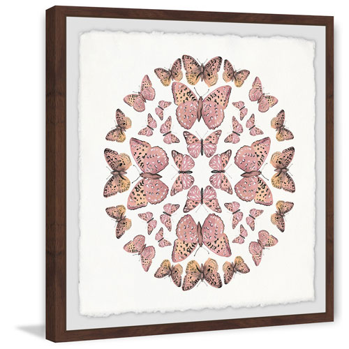 Marmont Hill Pink Butterfly Circles 32 x 32 In. Framed Painting Print