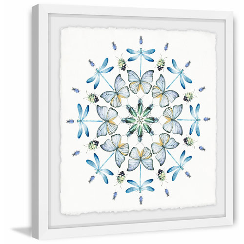 Marmont Hill Blue Bug Circles 12 x 12 In. Framed Painting Print