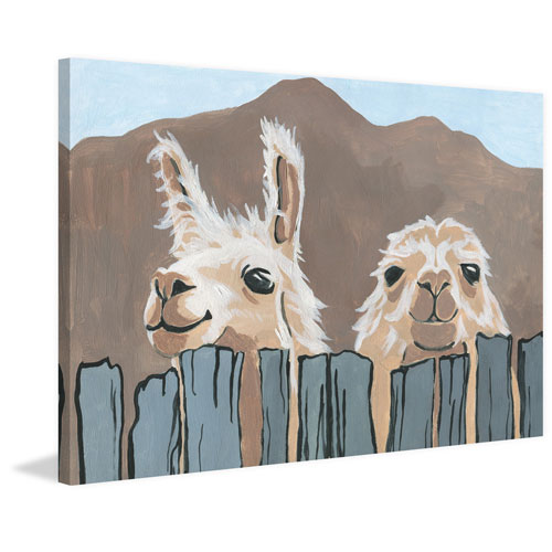 Marmont Hill Animals - Peekaboo Llamas 30 x 45 In. Painting Print on Wrapped Canvas