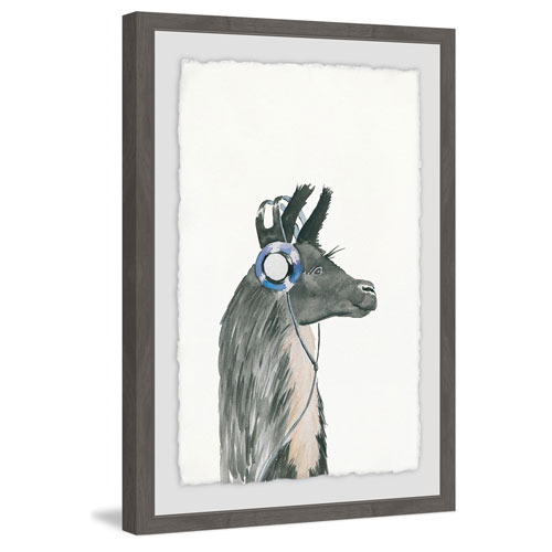 Marmont Hill Groovy Llama 30 x 20 In. Framed Painting Print