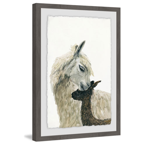 Marmont Hill Momma Lllama 18 x 12 In. Framed Painting Print