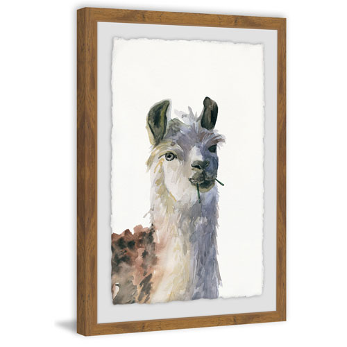 Marmont Hill Chewing Llama 36 x 24 In. Framed Painting Print