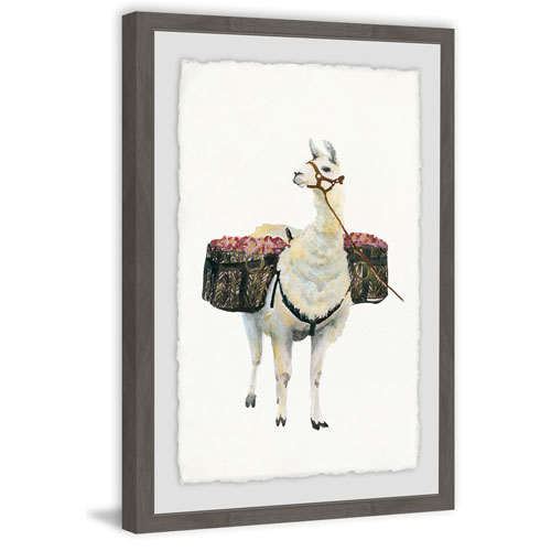 Marmont Hill Working Llama 24 x 16 In. Framed Painting Print