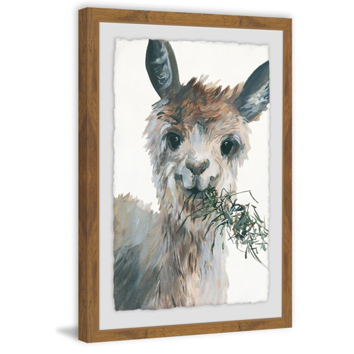 Marmont Hill Munching Llama 18 x 12 In. Framed Painting Print