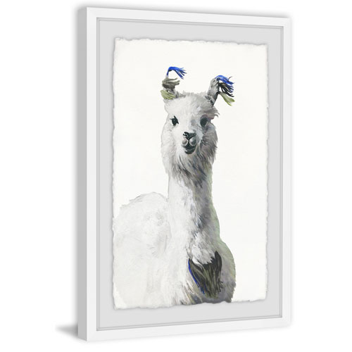 Marmont Hill White Llama 45 x 30 In. Framed Painting Print