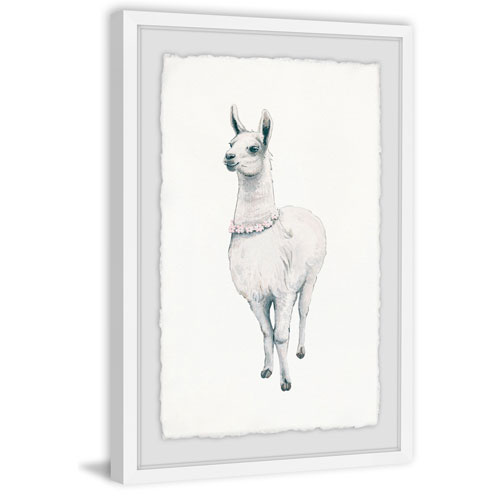 Marmont Hill Flower Fringed Llama 12 x 8 In. Framed Painting Print
