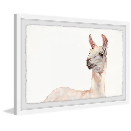 Marmont Hill Hey There Llama 30 x 45 In. Framed Painting Print
