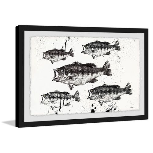 Marmont Hill Black and White Fish 24 x 36 In. Framed Painting Print