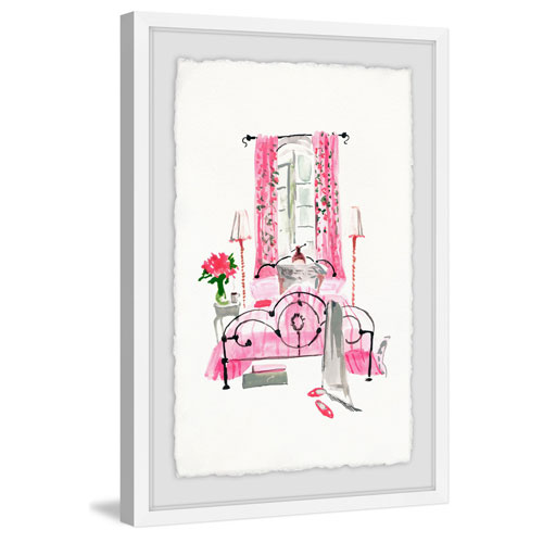 Marmont Hill Bedroom Pink 36 x 24 In. Framed Painting Print
