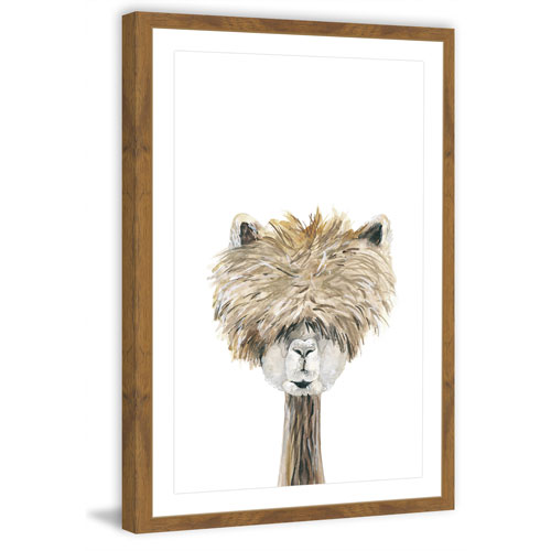 Marmont Hill Bushy Haired Llama 18 x 12 In. Framed Painting Print