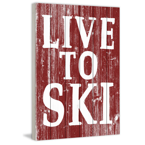 Marmont Hill Live to Ski 45 x 30 In. Painting Print on White Wood