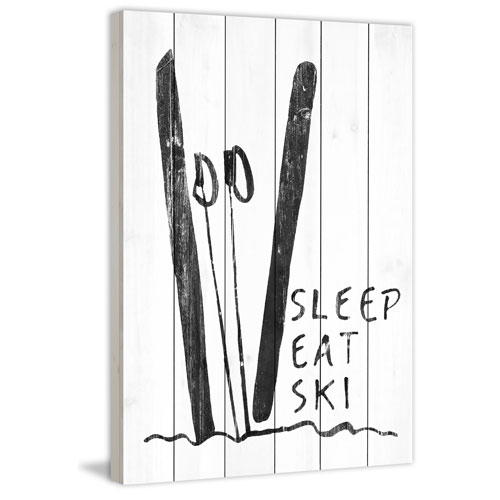Marmont Hill Sleep Eat Ski 18 x 12 In. Painting Print on White Wood