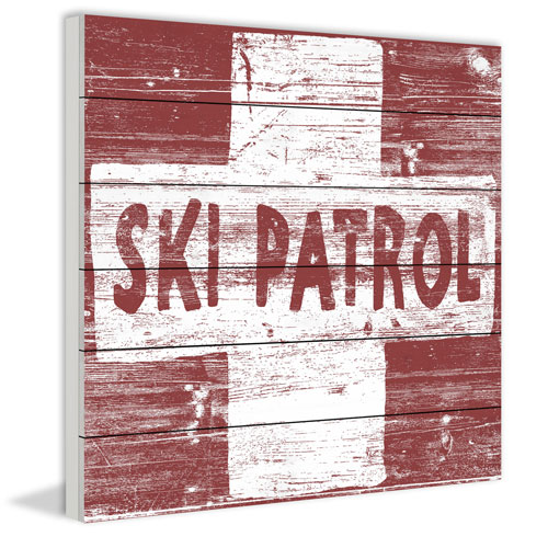 Marmont Hill Ski Patrol Cross 40 x 40 In. Painting Print on White Wood
