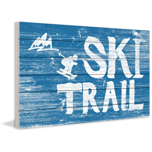 Marmont Hill Ski Trail 40 x 60 In. Painting Print on White Wood