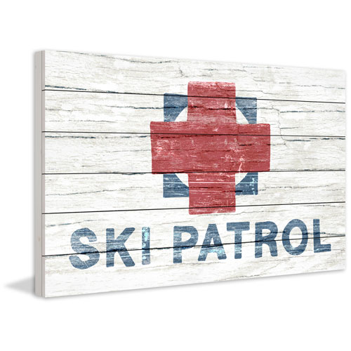 Marmont Hill Rugged Ski Patrol 24 x 36 In. Painting Print on White Wood