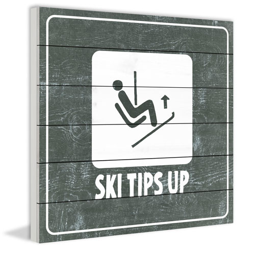 Marmont Hill Ski Tips up Diagram 12 x 12 In. Painting Print on White Wood