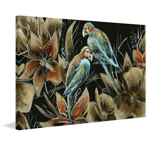 Marmont Hill Little Couple Blue Birds II 16 x 24 In. Painting Print on Wrapped Canvas