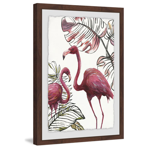 Marmont Hill Tropical Flamingos I 24 x 16 In. Framed Painting Print