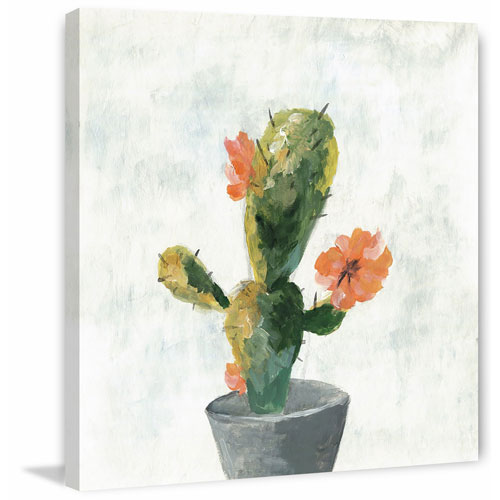 Cactus with Pot 48 x 48 In. Painting Print on Wrapped Canvas