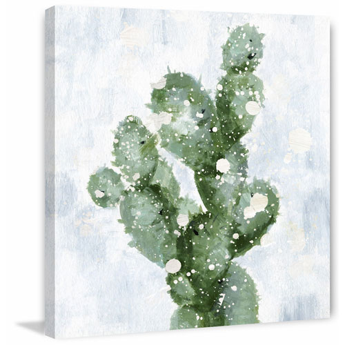 Marmont Hill Cactus with Snow 18 x 18 In. Painting Print on Wrapped Canvas