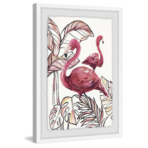 Marmont Hill Tropical Flamingos II 36 x 24 In. Framed Painting Print
