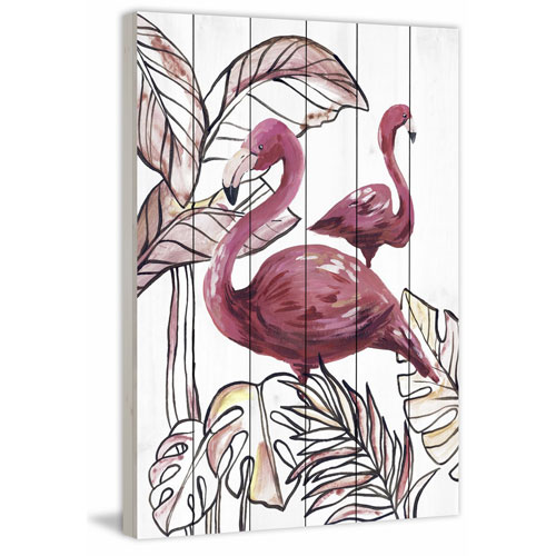 Marmont Hill Pink Flamingo I 24 x 16 In. Painting Print on White Wood