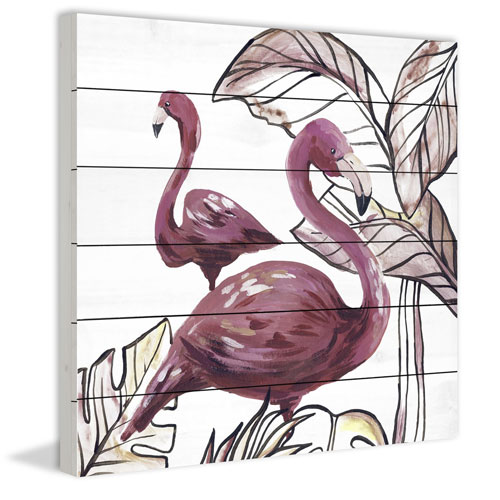 Pink Flamingo II 40 x 40 In. Painting Print on White Wood