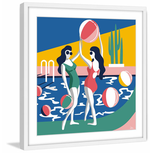 Marmont Hill Pool Side Attraction 48 x 48 In. Framed Painting Print