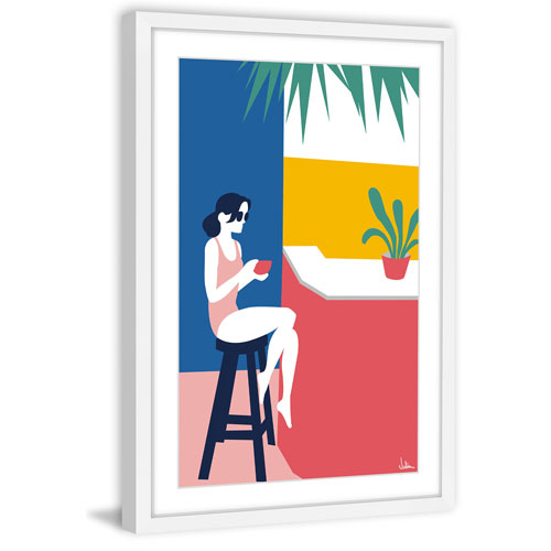 Marmont Hill A Lady at the Beach Bar 60 x 40 In. Framed Painting Print