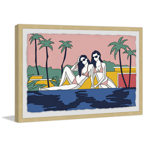 Marmont Hill Girls Sunbathing by the Pool 16 x 24 In. Framed Painting Print