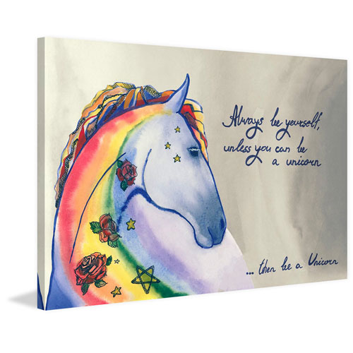 Marmont Hill Rainbow Unicorn IV 30 x 45 In. Painting Print on Wrapped Canvas