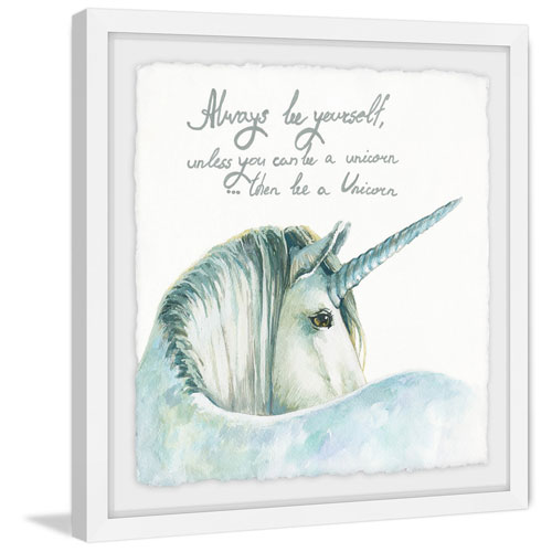Marmont Hill White Unicorn II 32 x 32 In. Framed Painting Print
