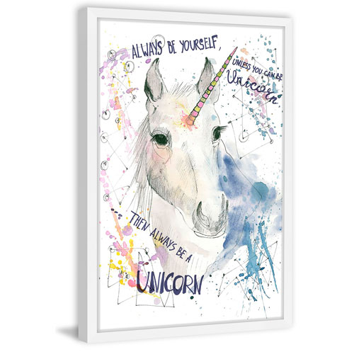 Marmont Hill Paint Spots Unicorn 60 x 40 In. Framed Painting Print