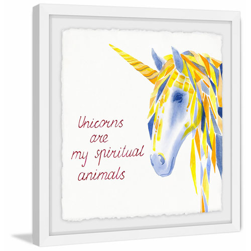 Marmont Hill Unicorns Are Spiritual II 40 x 40 In. Framed Painting Print