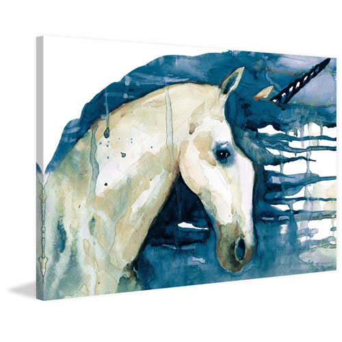 Blue Unicorn 40 x 60 In. Painting Print on Wrapped Canvas