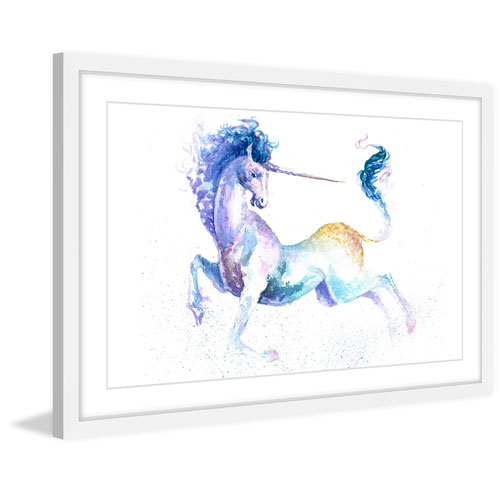 Marmont Hill Leaping Unicorn 16 x 24 In. Framed Painting Print