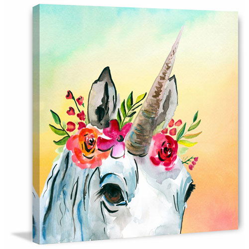 Marmont Hill Unicorn Flowers 18 x 18 In. Painting Print on Wrapped Canvas