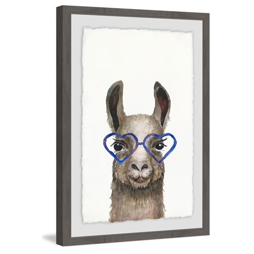 Marmont Hill Blue Heart Glasses 18 x 12 In. Framed Painting Print