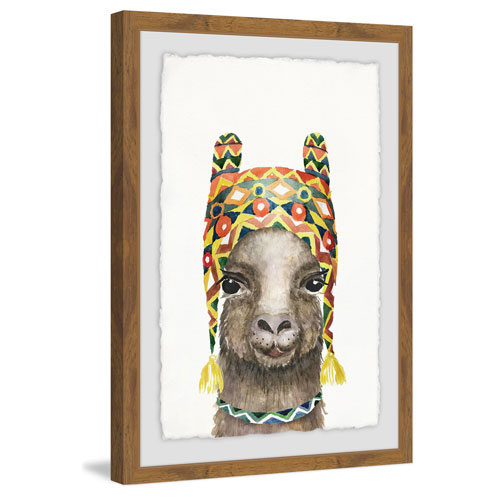 Marmont Hill Bonny Llama 30 x 20 In. Framed Painting Print