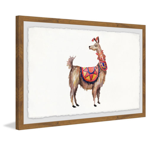 Marmont Hill Trendy Llama 16 x 24 In. Framed Painting Print